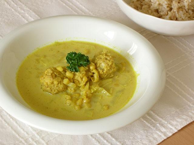 白小豆と鶏団子のカレースープ
