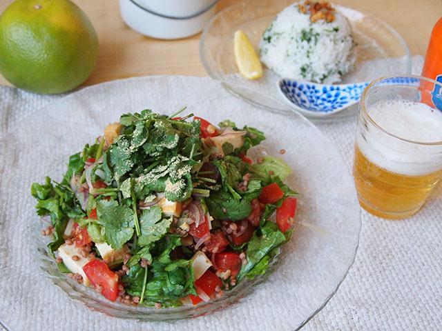 たかきびの厚揚げサラダ